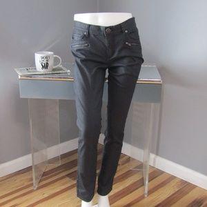 LOFT Coated Black Modern Skinny Moto Zip Jeans